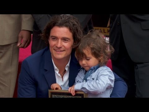 Orlando Bloom and son Flynn at his Star on the Hollywood Walk of Fame