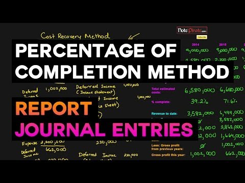 Percentage of Completion Method Journal Entries (#52)