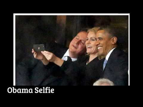 President Barack Obama takes selfie at Nelson Mandela's memorial