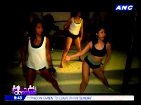 Phoem Baranda tries pole dancing