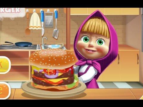 Masha Cô bé siêu quậy và chú gấu xiếc: Masha làm bánh Hăm-bơ-gơ (Masha cooking big burger)