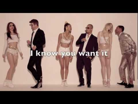 Robin Thicke - Blurred Lines (ft. T.I. & Pharrell) HD with Lyrics on screen