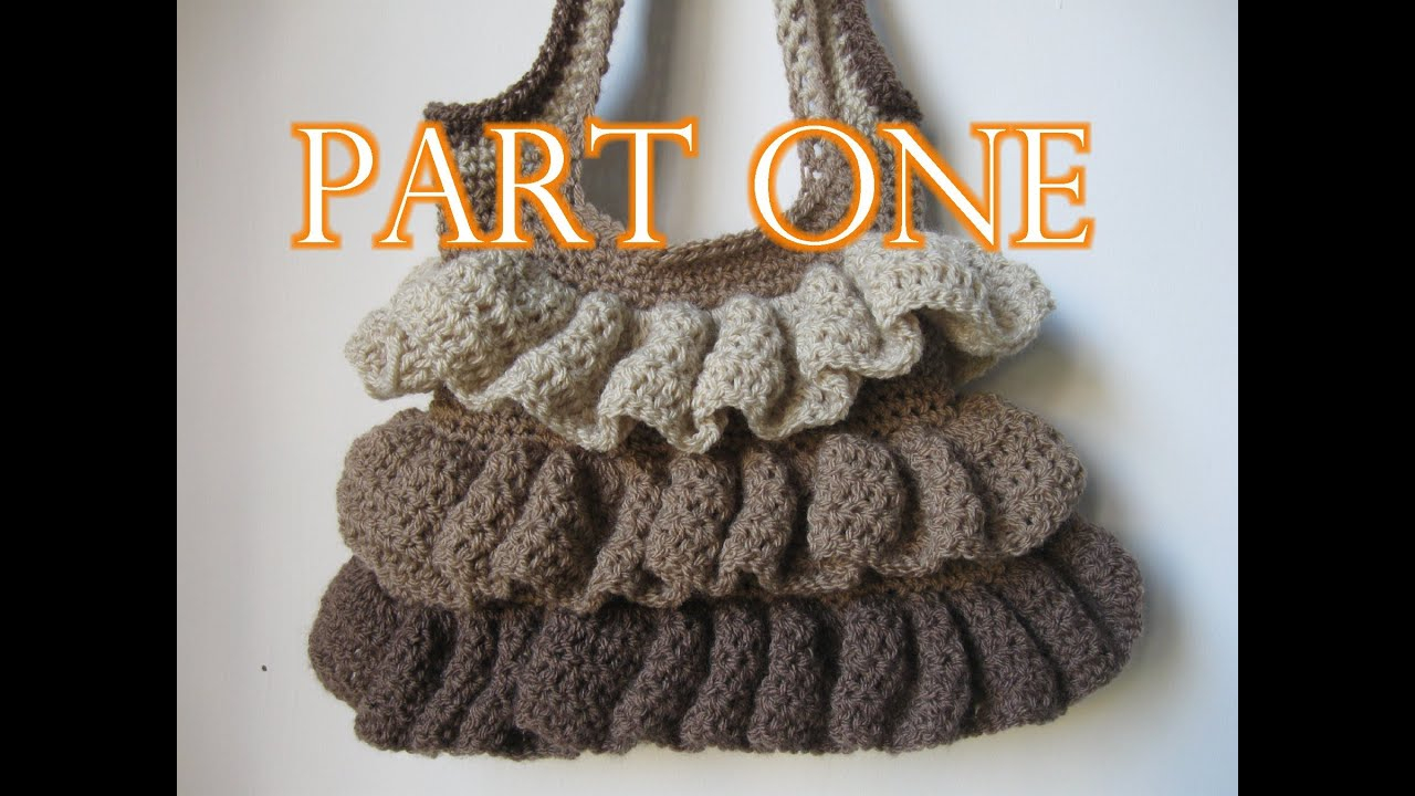 Crochet Ruffle Bag Tutorial pt 1 - YouTube
