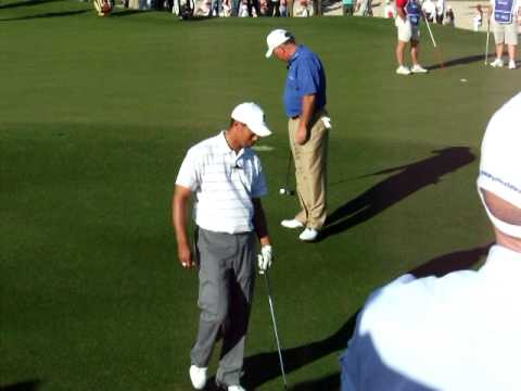 Tiger Woods Trick Shot with Mark O'Meara at Dubai Desert Classic Golf Challenge Match 2008