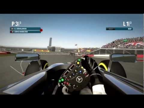 Codemasters F1 2012 played by Hamilton Senna and Kovalainen around the Circuit of the Americas