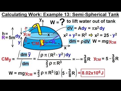 Calculus 2: Apllications - Calculating Work (14 of 16) Cal. Work Ex. 12: 1/2-Spherical Tank: 2