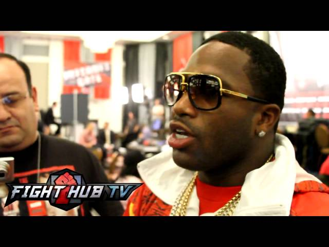 Adrien Broner talks to the media about Marcos Maidana