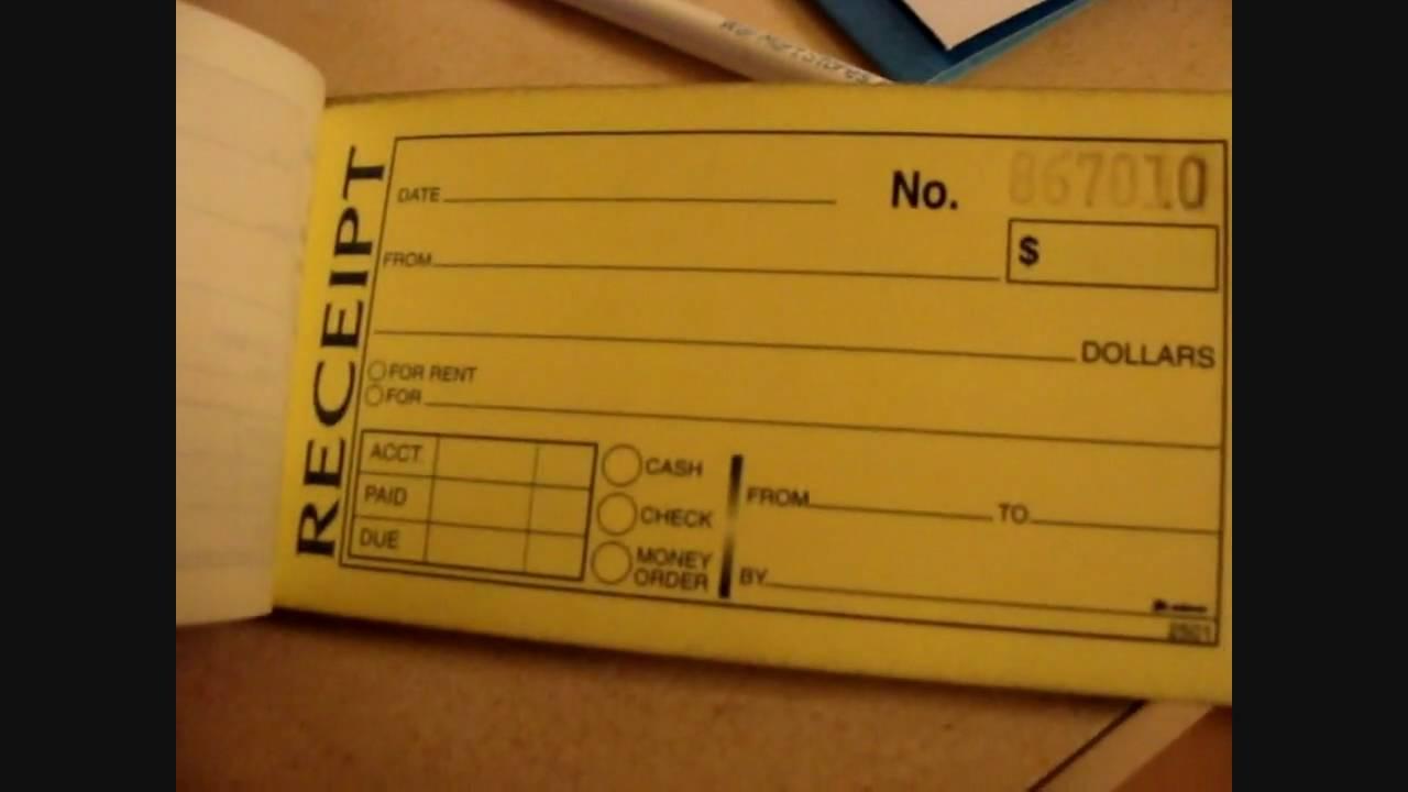 dj tip  receipt book
