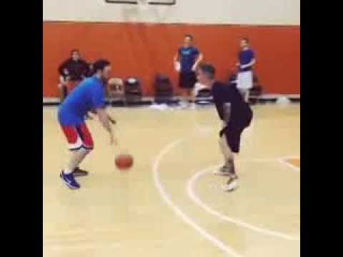 Justin Bieber Trips Over While Playing Basketball with Scooter Braun - Funny!