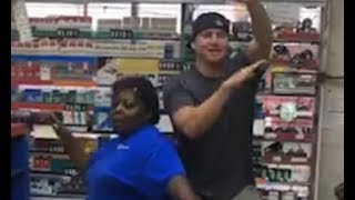 Channing Tatum dances with employee at NC gas station