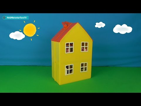 Peppa Pig and George with parents at home. Peppa Pig Playset.