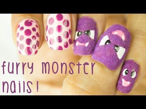 Cute Furry Monsters - Halloween Nail Art