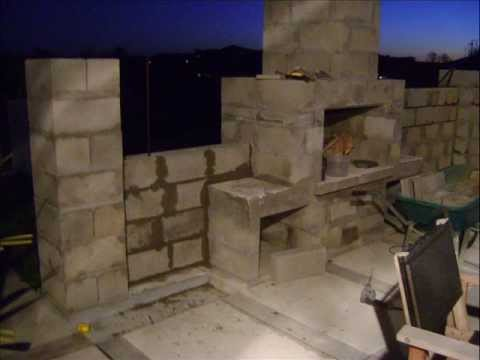 building my outdoor fireplace and patio surrounding wall youtube. Black Bedroom Furniture Sets. Home Design Ideas