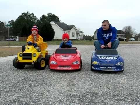 Grown Man Races Kids on Power Wheels