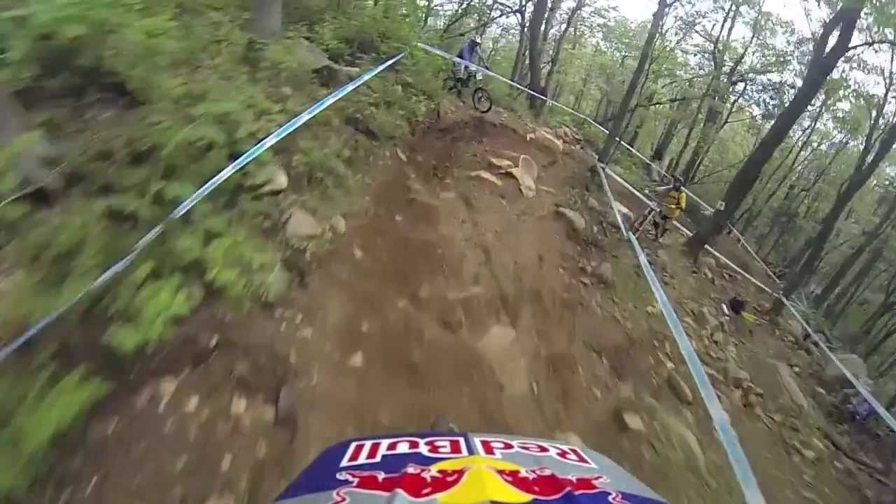 Gee Atherton's Mt St Anne Crash 2013 - Captured on Go Pro - Gee Atherton has yet another big crash in Mt St Anne, this time its his final practice run on race morning, not the best preparation for the finals. Gee is o...
