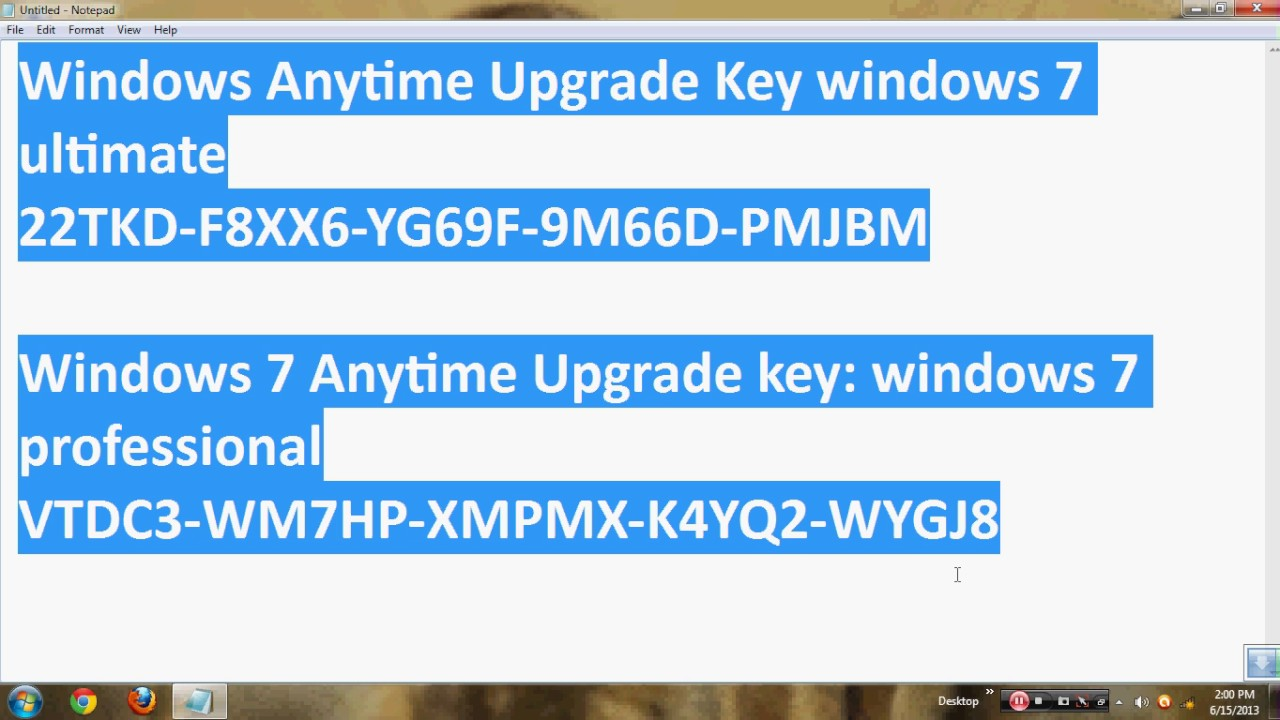 Windows 7 professional upgrade key code for Windows 07 product key