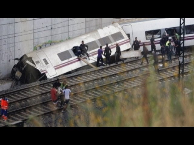 Spain train crash: Twisted carriages after train derails at high-speed at Santiago de Compostela
