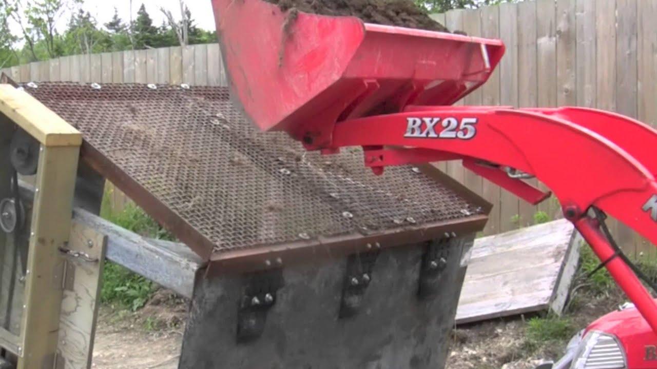 Homemade soil screener sifter screening action youtube for Topsoil screener