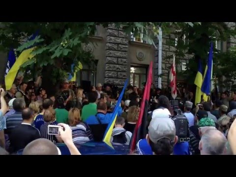 Ukraine Patriots Protest Against Truce At Presidential Administration, Kyiv, June 29 2014
