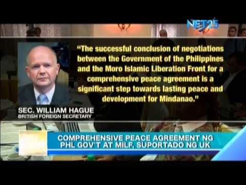 Comprehensive Peace Agreement Between Philippine Government and MILF Receives Support from UK