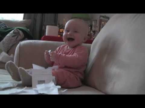 Baby Laughing Hysterically At Ripping Paper