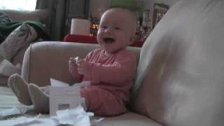 Baby Laughing Hysterically At Ripping Paper (Original