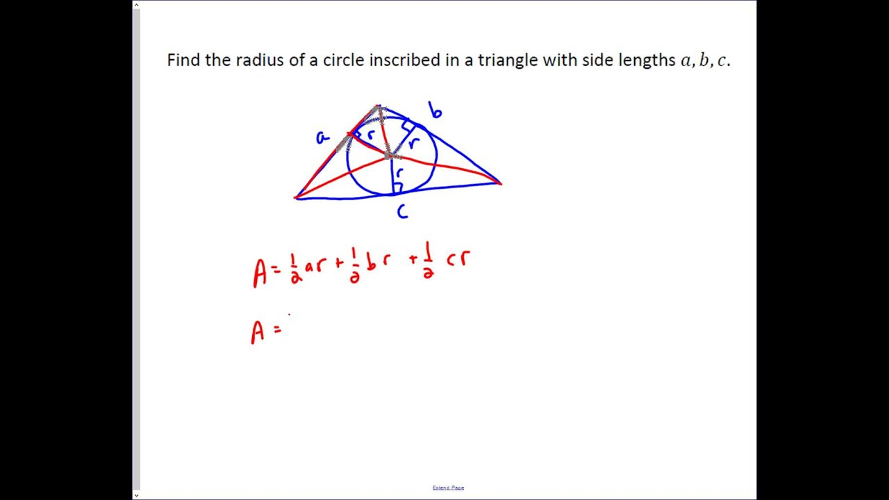 Finding The Radius Of An Inscribed Circle In A Triangle Youtube How To Find