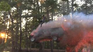 Epic Truck Jump drives through fire and into a pond