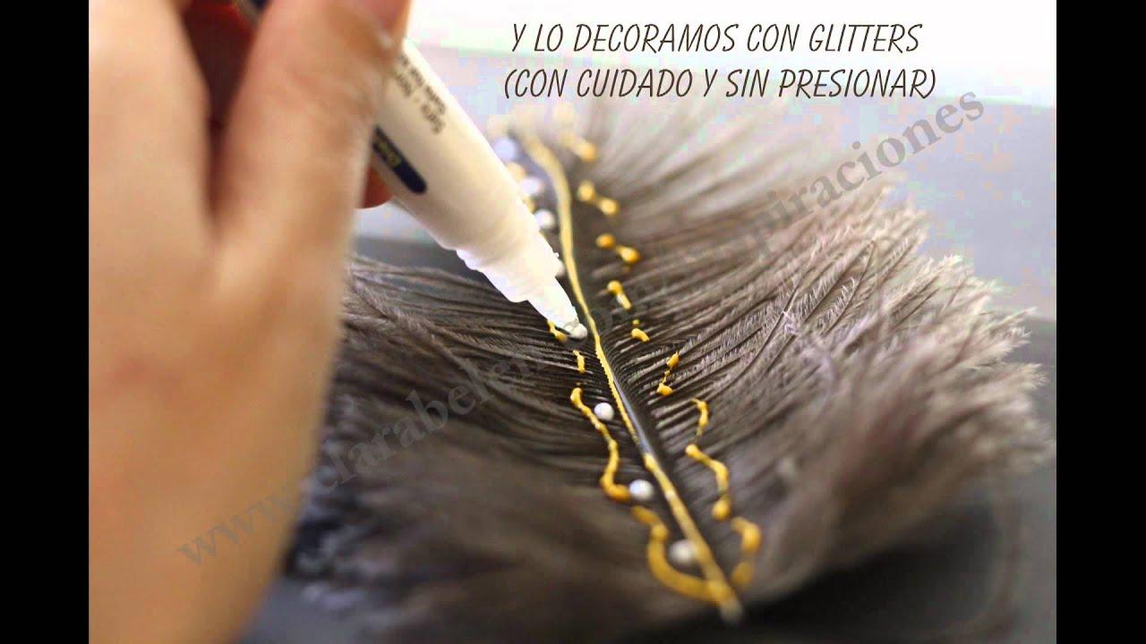 Manualidades sencillas adornos decorativos con plumas de - Plumas para decorar ...