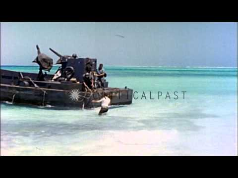 Prayer services for dead Marines aboard a ship  off the coast of Eniwetok Atoll, ...HD Stock Footage