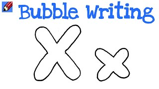how to draw a a and x in bubble writting