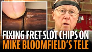 Watch the Trade Secrets Video, Fixing fretboard chips on the Mike Bloomfield Tele