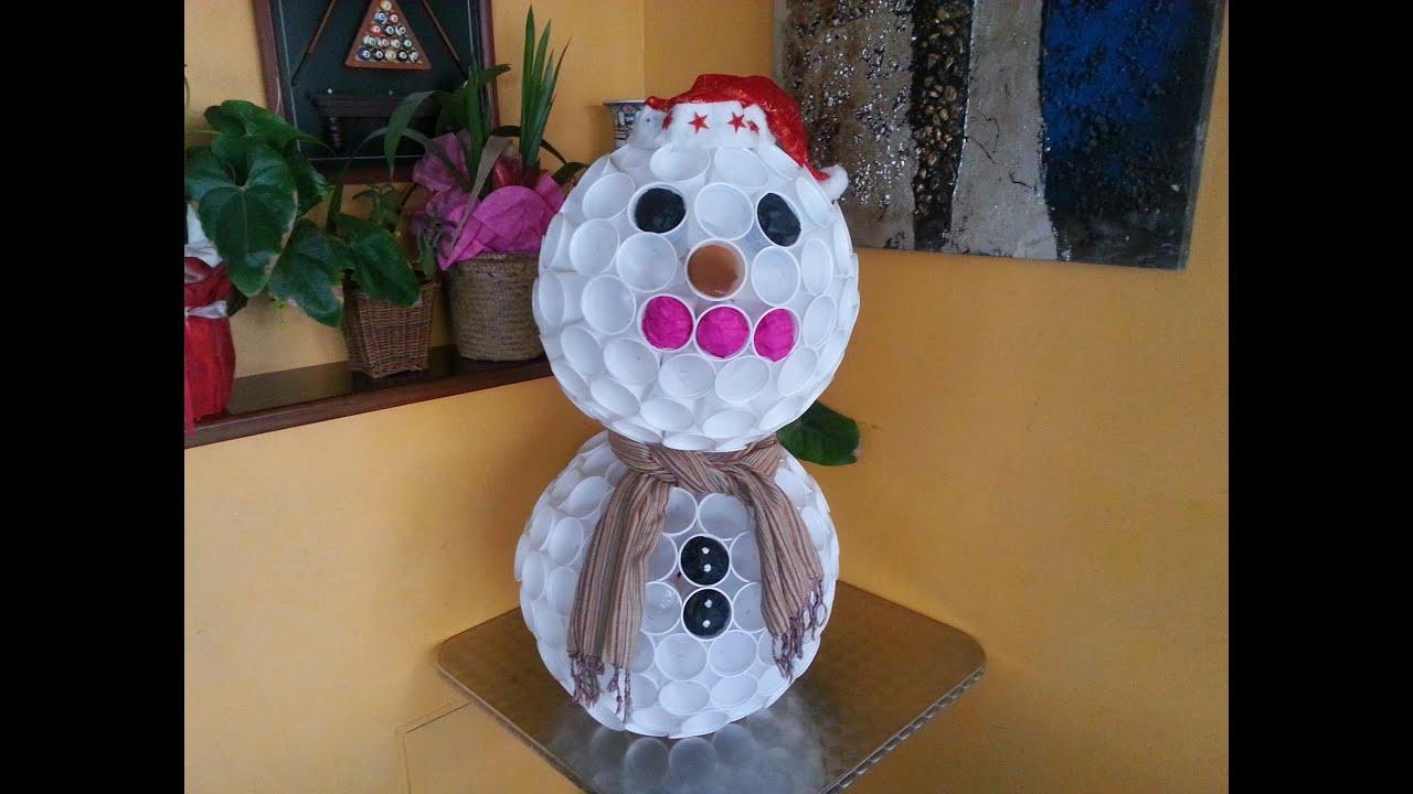 Tutorial pupazzo di neve con i bicchieri di plastica for Addobbi natalizi con bicchieri di plastica