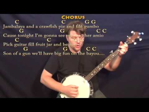 Jambalaya (Hank Williams) Banjo Cover Lesson in C with Chords/Lyrics - C G