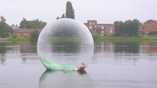 I Spent the Night on a Lake in a Zorb Ball & It Was Insane (Sleep on a Lake Challenge)