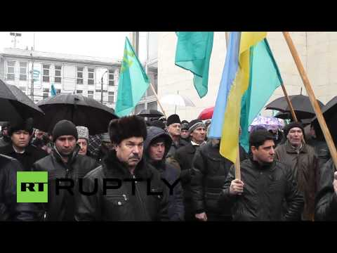 Ukraine: Ethnic Tatars demonstrate against 'dictatorship' in Crimea
