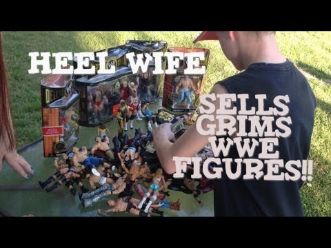 Grims Toy Show ep 470: WWE Mattel elite wrestling action figures yard sale Collection display review