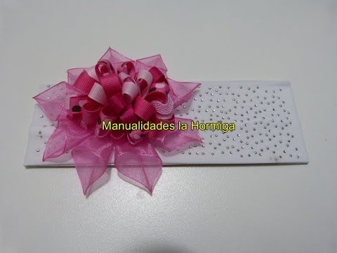 DIY. accesorios  moños y flores faciles para el cabello en cinta No.  334 Manualidadeslahormiga