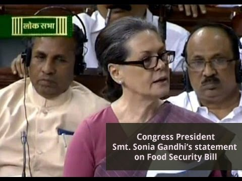 Smt Sonia Gandhi Speech on Food Security Bill 26 August 2013