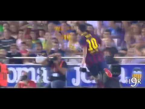 Valencia vs Barcelona 2 3 All Goals & Highlights 01 09 2013 Spanish Commentary (HD))