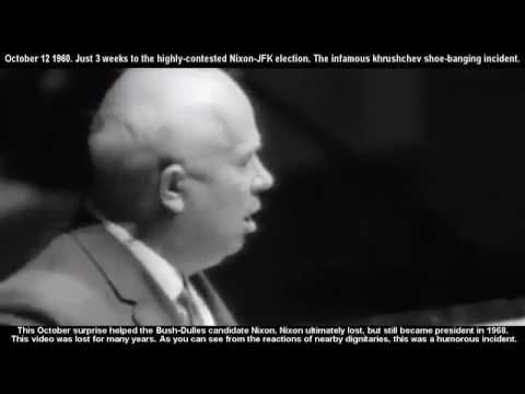 12.10.1960 - Никита Хрушчов блъска с обувка по масата по време на заседание на ООН