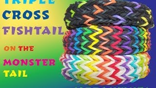 Triple Cross Fishtail Bracelet Monster Tail Rainbow Loom