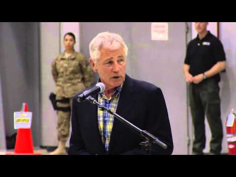 Secretary of Defense Hagel visits Bagram