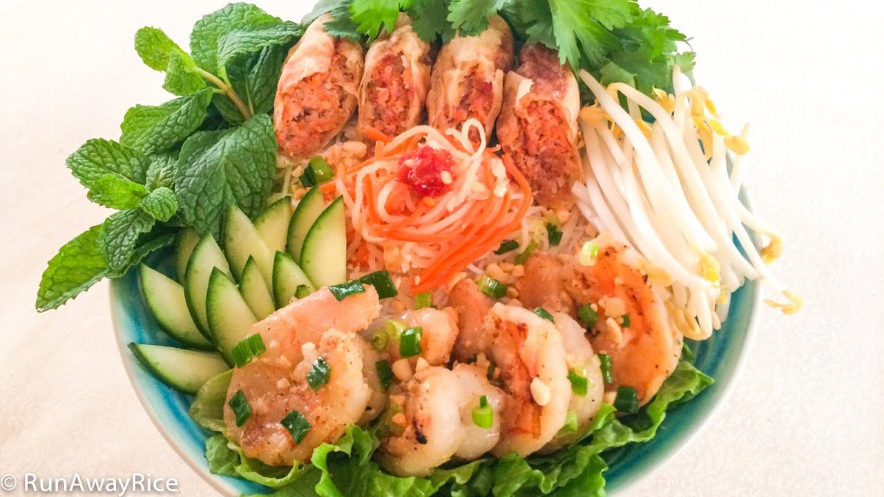 Grilled Shrimp, Egg Rolls and Rice Vermicelli (Bun Cha Gio Tom Nuong ...