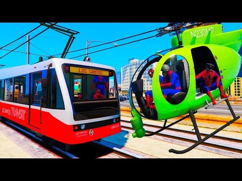 Trains and Green Helicopter  - Fun Video with Nursery Rhymes Songs