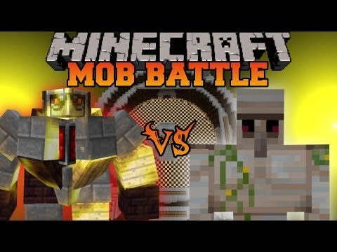 Iron Golem Vs. BIG Golem - Minecraft Mob Battles - Mo' Creatures Mod