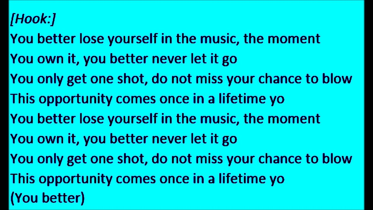 eminem lose yourself lyrics clean - photo #9