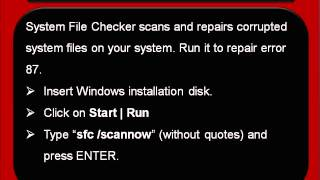 How To Repair Error 87
