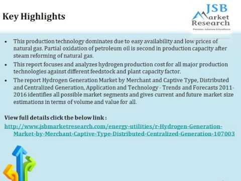 Hydrogen Generation Market   by Merchant & Captive Type, Distributed & Centralized Generation, Appli
