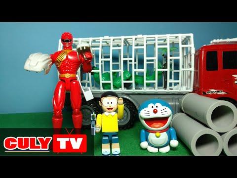 đồ chơi Doremon chế hài - nobita bắn súng gây mê cùng siêu nhân gao đỏ bắt Hulk bỏ tù - Doraemon Toy